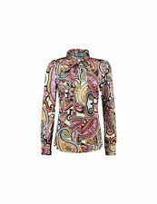 Ladies Multi Paisley Print Satin Pussy Bow Blouse - Long Sleeve Shirt for Women