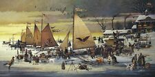 Ice Riders of Chesapeake Bay Charles Wysocki LE 1500 17x34 Paper Signed NEW