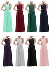 Long Chiffon One-shoulder Prom Bridesmaid Formal Evening Party Gown Women Dress