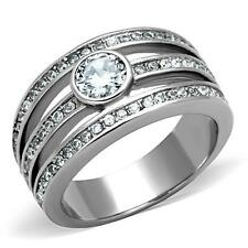 Silver Stainless Steel Simulated Diamond Engagement Dress Ring Size 5 6 7  J L N