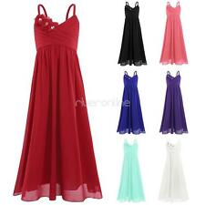 Girls Chiffon Princess Flower Dress Party Bridesmaid Wedding Pageant Ball Gown