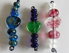 Lampwork Focal Heart Bead with Lampwork Spacer Beads Sets