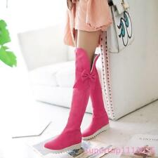 Womens Low Heel Warm Zipper Faux Suede Casual Over The Knee Tall Boot Shoes Chic