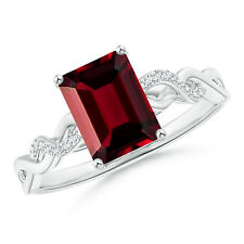 Solitaire Emerald Cut Garnet and Diamond Infinity Twist Ring 14K White Gold