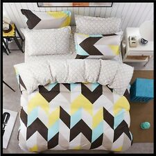 Brown Yellow White Blue Rectangle Print Bedding Full Queen King Size Duvet Cover