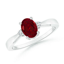 Oval-Cut Garnet Solitaire Ring with Diamond Accents 14k White Gold Size 3-13