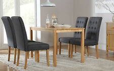 Milton & Regent Oak Dining Table and 4 6 Fabric Chairs Set (Slate)