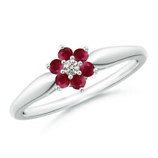 Classic Six Petal Natural Ruby Diamond Flower Ring 14k White Gold Size 3-13