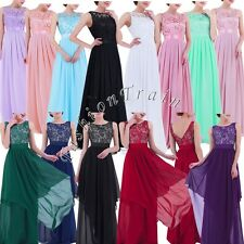 Elegant Womens Long Chiffon Evening Cocktail Party Wedding Bridesmaid Gown Dress