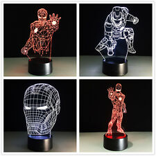 3D Night Light Lamp Acrylic Colorful Marvel Iron Man Gift Decoration Touch Switc