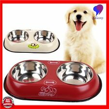 Stainless Steel Double Diner Dish Food Water Bowl For Dog & Cat Pet