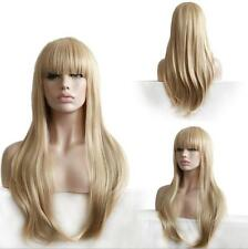 Fashion Lady Straight Wigs Light Blonde With Bangs Sexy Long Synthetic Full Wigs