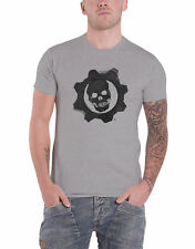 Gears of War 4 T Shirt Crimson Omen Gear Skull Logo Official Mens New Grey