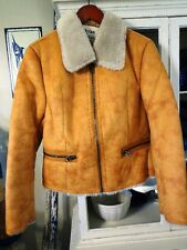 NWT Women's dylan Distressed Cabin Coat Faux Shearling Zip Closure Vintage Gold