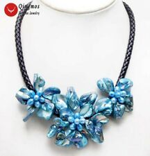Big Bright Blue Baroque Shell Flower & Pearl pendant Rope 18'' Necklace-nec6362
