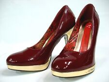 NEW ED HARDY WOMEN'S SKY SHOES HEELS PUMPS - PATENT LEATHER - RED