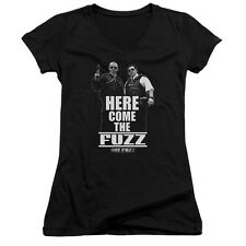 Hot Fuzz Movie Poster HERE COME THE FUZZ Licensed Juniors V-Neck Tee Shirt
