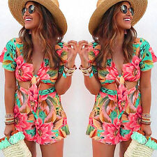 Casual Loose Jumpsuit Romper Shorts Beach Club Womens Floral V Neck Short Sleeve
