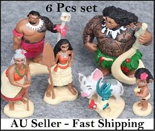 6 Pcs Moana Action Figures Movie Figurines Cake Toppers Kids Play Toy Gift Set