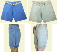 NEW Ex Next Ladies Blue or Green Linen Mix Casual Shorts with Belt Size 10 - 18