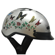 DOT APPROVED VENTED BUTTERFLY MOTORCYCLE HALF BEANIE HELMET - free shipping