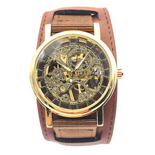 Hollow Skeleton Mens Wind Up Mechanical  Wrist Watch Canvas & Leather Band Watch