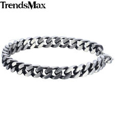 8/10/12mm Mens Chain Boys Stainless Steel Silver Cut Curb Cuban Link Bracelet