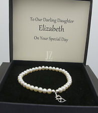 Freshwater Pearl Bracelet with S/Silver Cat Charm and S/Silver Stud Earrings.