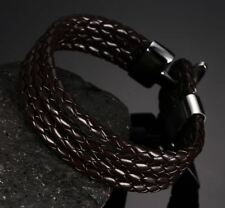 Women Fashion Pu Leather Plaits Stainless Steel Metal Hook Bracelet JEZ799