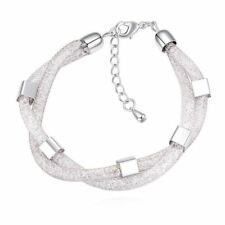 Square Shape Crystal Beads Decorated Silver And Gold Plated Women Bracelet