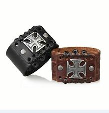 Men Black Brown Color Big Cross Pu Leather Wide Belt Handmade Bracelet