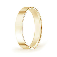 High Polished Flat Surface Classic Wedding Band in Yellow Gold Ring Size 4-14