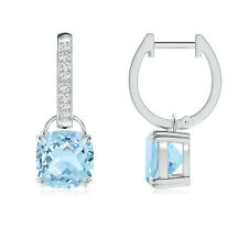 Round Natural Aquamarine Drop/Dangle Earrings with Diamond in 14k White Gold