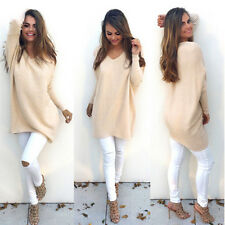 Women Long Sleeve Knitted Sweater Tops V Neck Loose Outwear Pullover Knitted