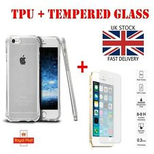 Transparent Silicone Case & Tempered Glass Screen Protector For iPhone Models