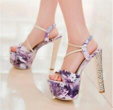 Sweet Womens Floral Dress Sandals Platform Chunky High Heel Open Toe Party Shoes