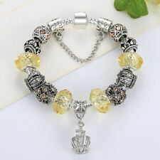 Women Stylish Fashion Silver Plated Stone Beads Decorated Round Shape Bracelet