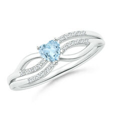 Solitaire Aquamarine Diamond Heart Promise Ring Silver/ 14K White Gold Size 3-13