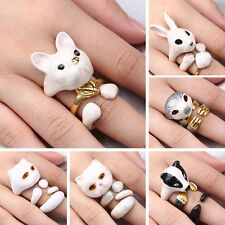 New Fashion Women Cute Animal Finger Rings Cat Dog Rabit Sloth Jewelry Unique