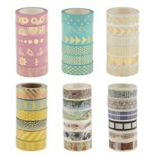 6 Rolls Gilding Paper Washi Masking Tape Sticky Adhesive Tape for Scrapbooking
