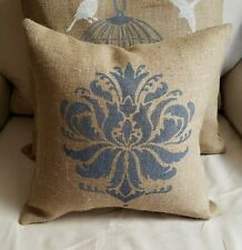 Natural Rustic Burlap Pillow Cover Stenciled with LOVE in Black - FREE SHIP
