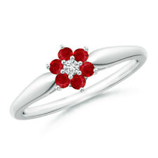 Classic Six Petal Natural Ruby and Diamond Cluster Ring 14k Solid Gold/ Platinum