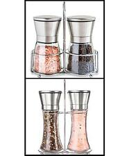 Salt Pepper Grinder Set Stand Shakers Adjustable Coarseness Mill Pair Kitchen