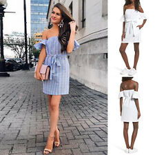 Fashion Women Summer Casual Off Shoulder Evening Party Cocktail Short Mini Dress