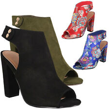 New Womens Peep Toe Chunky High Heel Mules Booties Ankle Boot Embroidered Floral