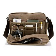 Mens Shoulder Messenger Travel Bag Canvas Cross Body Sling Syntheric Leather New