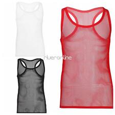 Sexy Mens Mesh Sheer See through Fishnet Tank Undershirt Vest Clubwear Summer