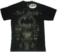 DC Comics Batman Dark Knight Gotham Symbol Logo Black Adult T-Shirt - (Small)