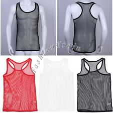 Sexy Men's Muscle Fishnet Fitted Tank Tops Mesh T-Shirt Vest Clubwear Slinget