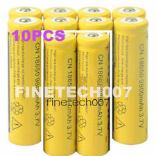 10pcs x 18650 3.7V 9800mAh Yellow Li-ion Rechargeable Battery Cell For Torch SV